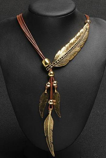 Women Luxury Feather Statement Pendant Gold Necklace Vintage Leather Wax Rope Feather Golden Choker Necklace