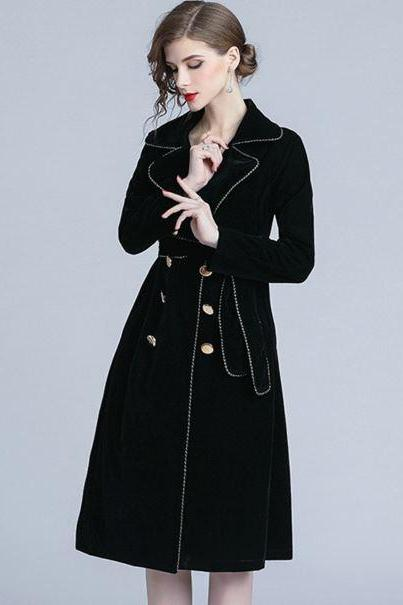 Black Trench Coats Velvet Material Soft and Warm Luxury Black Velvet