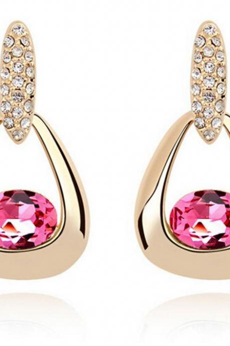 pink swarovski tear drop earrings gold plated pink swarovski luxury earrings