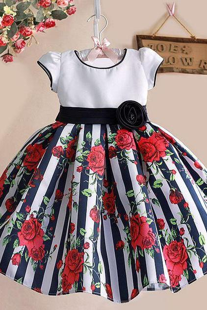 navy blue dress for girls with printed red floral rose bow 12mos,2t,3t,4t,5t