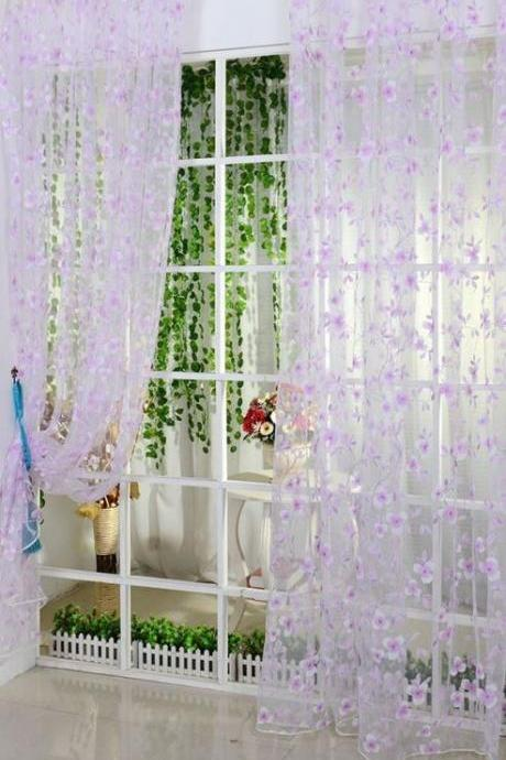 Purple Curtain Sheer Voile Purple Floral Window Treatment
