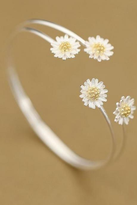 Beautiful 925 Sterling Silver Daisy Flower Bangles Cuff Bangles for Women Daisy Flower Bangles