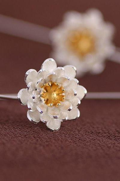 925 Sterling Silver Lotus Flower Earrings For Women Jewelry Pendientes Brincos