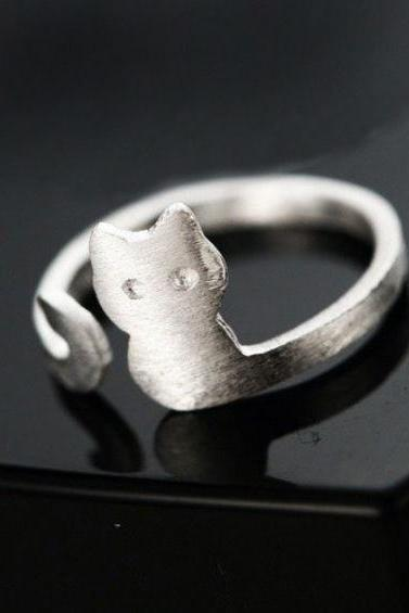 New Pure 925 Sterling Silver Rings Open Cat Ring For Girl Women Gift Jewelry
