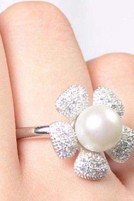 Floral Resizable Pearl Rings 925 Sterling Silver Flower Pearl Ring for Women