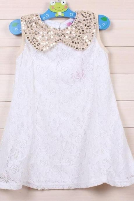 4T WHITE Dress for Little Girls with Golden Peter Pan Collar-Birthday Wedding Party Outfit Dress