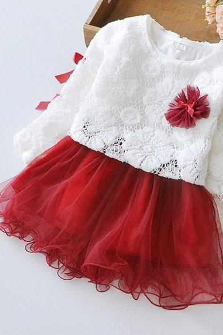 Cute Red Dress for Infant Girls with Embroidery Lace Top Red Tutu Dress for 3 months,4 months,6 months