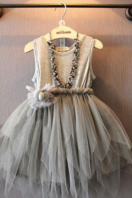 Cute Baby Dress Gray Fairy Dress for Girls Summer Spring Dress for Girls