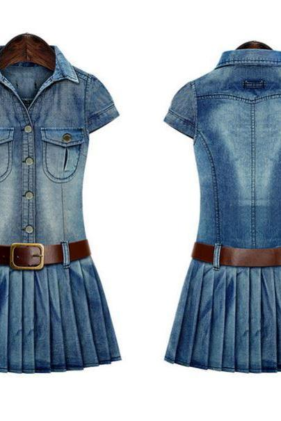 Cowgirl Texas Style Dress with Brown Leather Belt Denim Pleated Dress for Women Sexy Cowgirl Dress