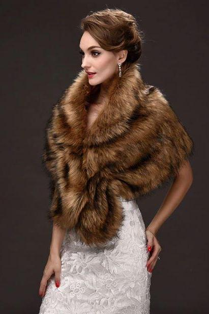 Brown Faux Fur Coat Gilet Fur Vest Women Brown Wraps Winter Fashion Accessories