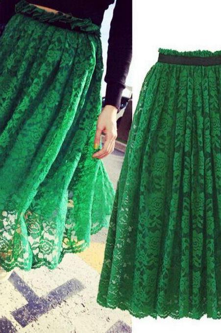 Green Skirt Green Tutu Maxi Skirts Green Lace Long Skirts Casual Fashion