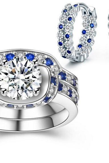 Jewelry Set for Women Blue Sapphire Jewelry Sets CZ Diamond Earrings Ring