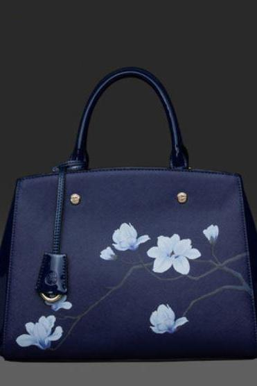 Navy Blue Bag Floral High Quality Fashion and Luxury Tote Navy Blue Purse Women