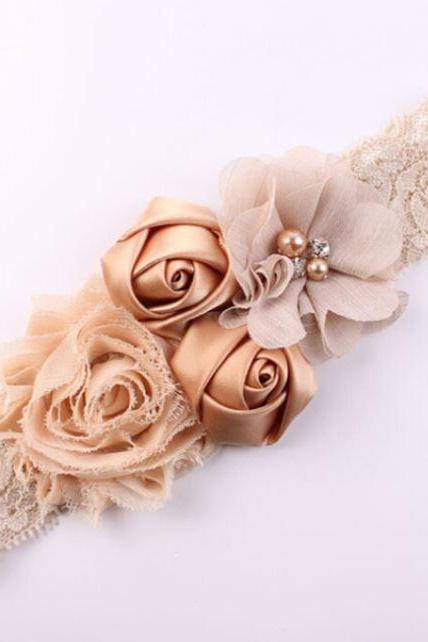 6 PCS Beige Headband for Newborn Girls Ivory Beige Hair Accessory Toddler Props