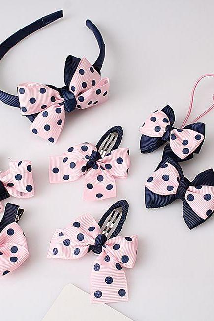 Navy Blue Headbands Cute Bow Polka Dots Hair Accessory SET for Toddler Girls