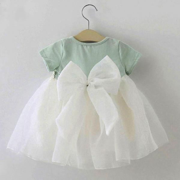 Mintgreen Baby Dress Bowknot Cute Summer and Spring Outfit 3-6 Months Dress