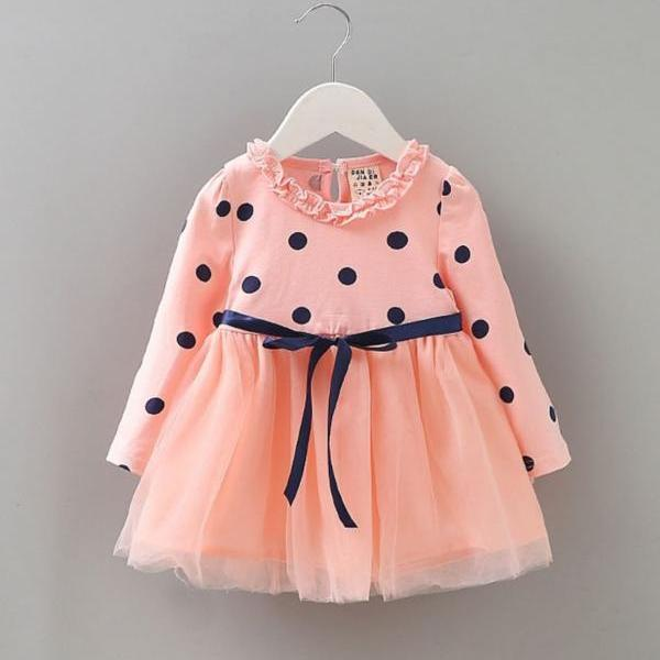 Peach Dress for Baby Girls Polka Dot Baby Shower Gifts and Surprises Orange