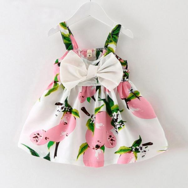 3 Months Pink Dress Summer Dress for Baby Princess Printed Dress with Big Bow