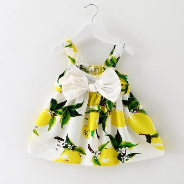 3 Months Yellow Dress Summer Dress for Baby Princess Printed Dress with Big Bow