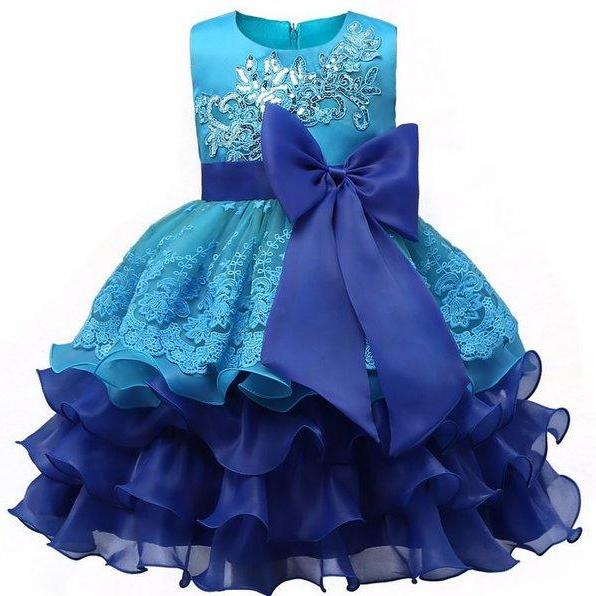 Princess Ballgown Dress Blue Dress for Flower Girls 3t,4t,5t,6t,7t Princess Ruffled Flower Girls Formal Wear Dress
