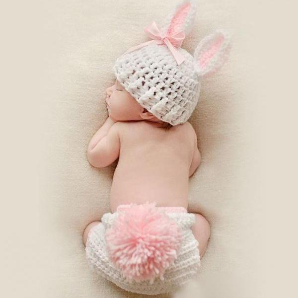 Baby Shower Gifts Rabbit Outfit Preemie Baby Hats Newborn hats with Matching Diaper Crochet Knitted Hats Handmade