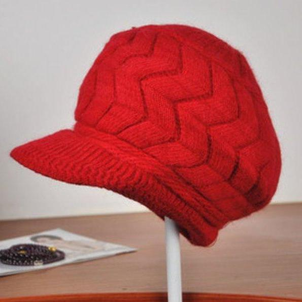 Red Newsboys Hats Wool Knitted Pretty Red Warm Wool Newsboys Hats