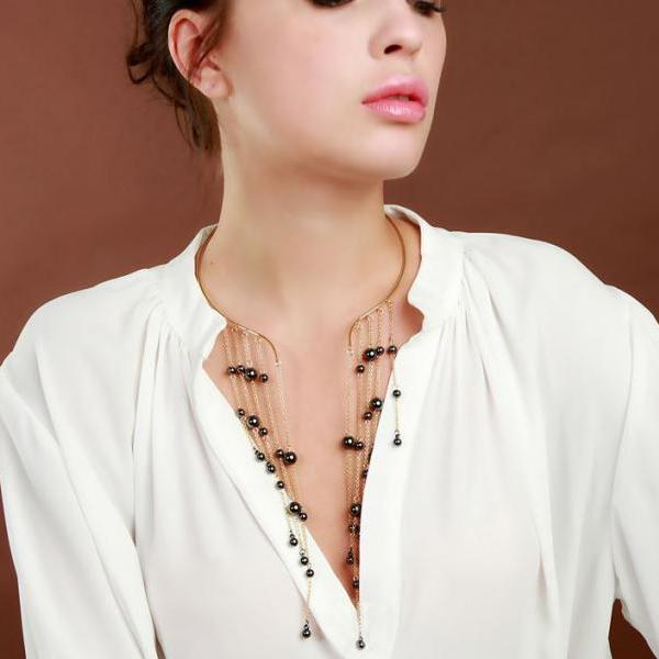 Fashion Modern Women Gray Necklace for Women Multi-layer with Single Band Fashion New Trend Necklace