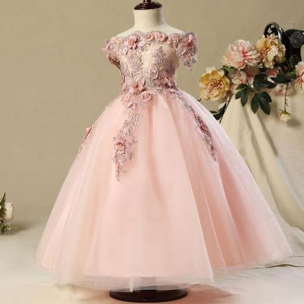 Pink Tutu Dress Girls Formal Wear High Quality Heavy Embroidery Flower Girls Pageant Pink Dress