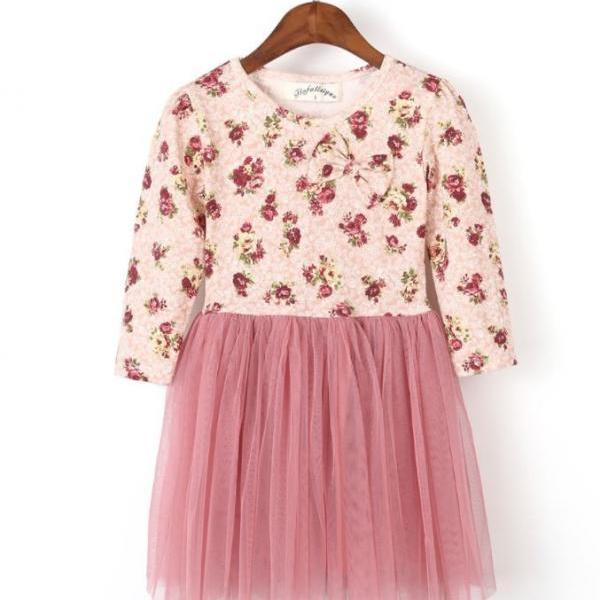 3T Floral long Sleeve Dress Pink Dress Dusty Purple Dress Spring Fall Outfit Thick Tulle High Quality Toddler Dress