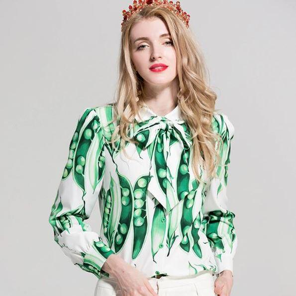 RSS Boutique Green Pea Pods Long Sleeve Princesses Tops for Women's Green Blouses Luxury Blouses