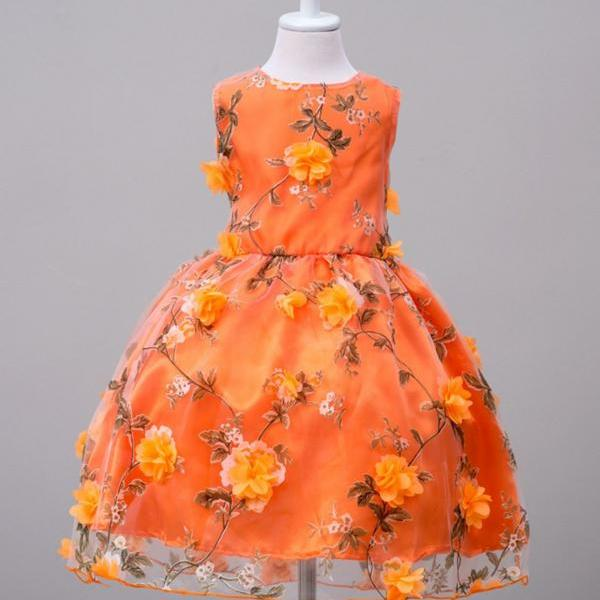 RSS Boutique Bright Orange Dress Spring Fall Floating Floral Dress with Matching Headband