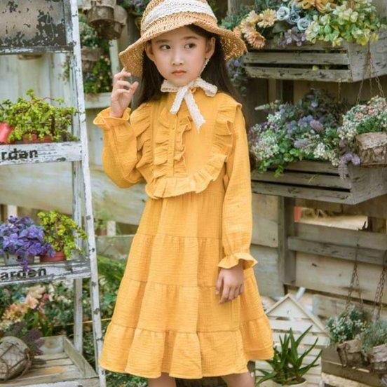 RSS Boutique Yellow Linen Dress for Toddler Girls Summer Dress with Matching FREE White Floral Headband