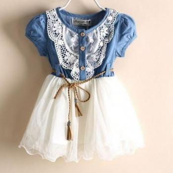 Free Shipping Girls Denim Dress Girls Cowgirl Toddler Western Denim Props 2T,3T.4T,5T,6T