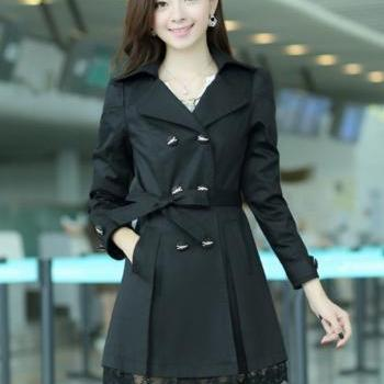 New Black Fashion Trench Winter Coat for Women-Women Black Coat Winter Lace Coats Polyester Winter Coats