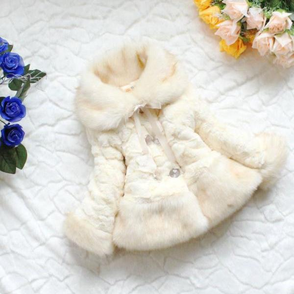 Ivory Fur Coats For Toddler Girls Off White Color Jackets Winter