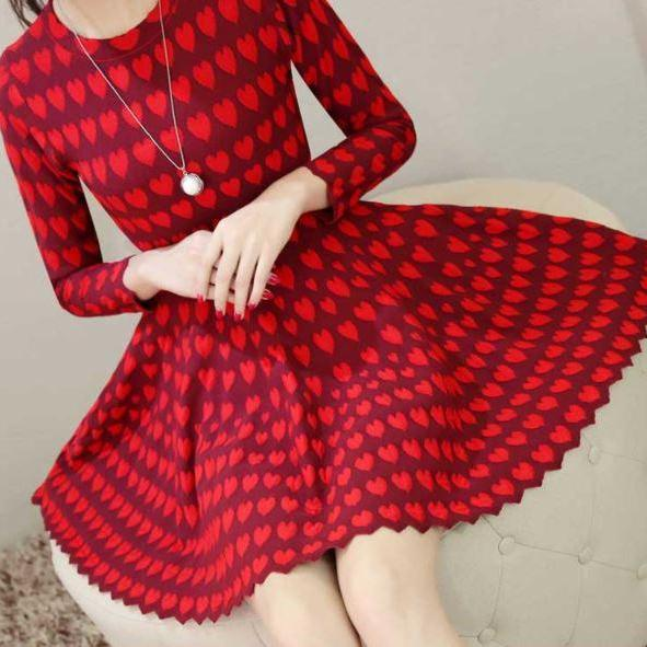 Red Dress for Teen Girls Red Heart Pattern Dress for Toddler Girls Long Sleeve Stretchable Dresses