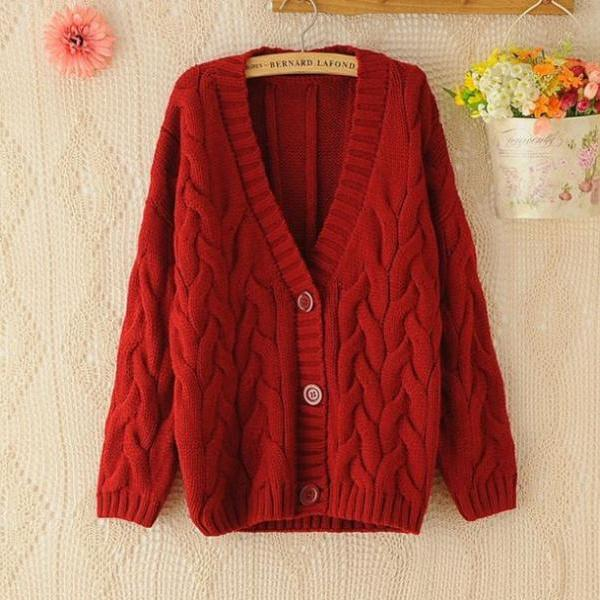 Red Sweater for Women Cabled Stretchable Sweaters Winter Cardigan For Women Knitted Red Sweaters