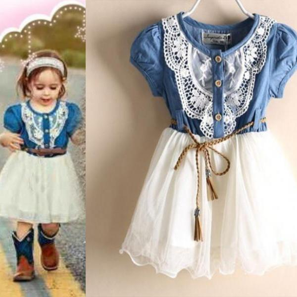 Rodeo Style Girls Denim Dress for Girls- Cowgirl Western Style Toddler Girls Denim Tutu Dress Denim Floral Dresses 2T,3T,4T,5T,6T