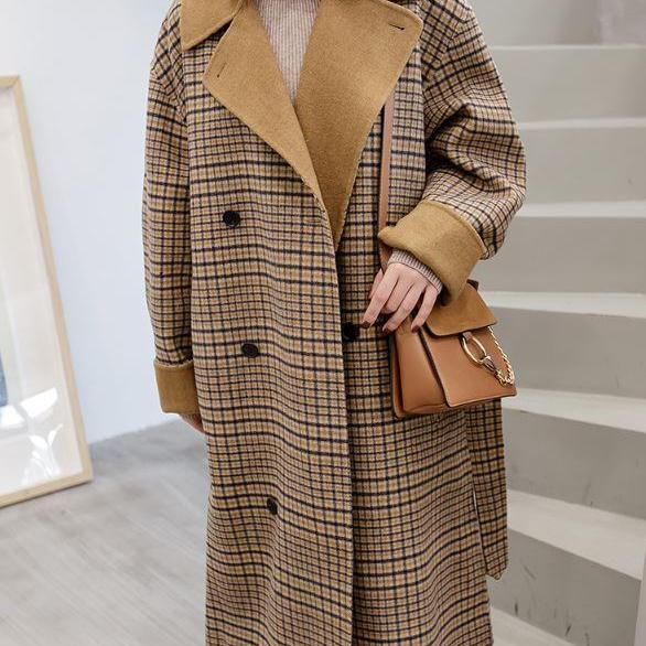 RSS Boutique Brown Overcoats Blazer for Women Plaid Coats Plus Size Long Blazer Wool Coats with FREE Brown Purse