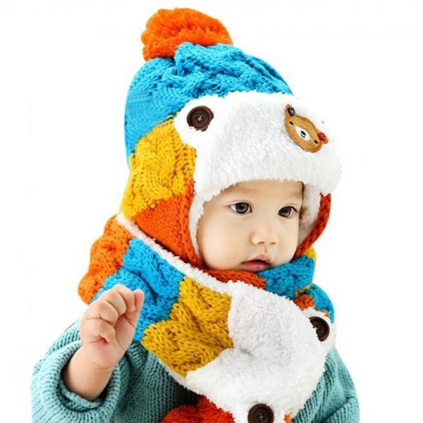 Baby Winter Hat with Matching Scarf Cute Baby Props for Warm Winter Accessory