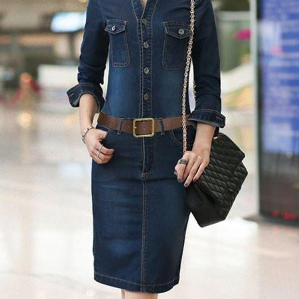Women Denim Blue Denim Long Sleeve Dress Sizes Small,Large,Medium and Extra Large