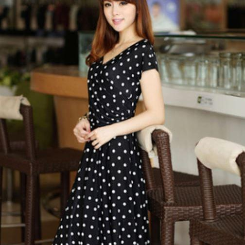 Silk Black Polka Dots Maxi Dress Women Black Silk Polka Dots Ready to Ship Dress -Receive it after 3 days after placing order