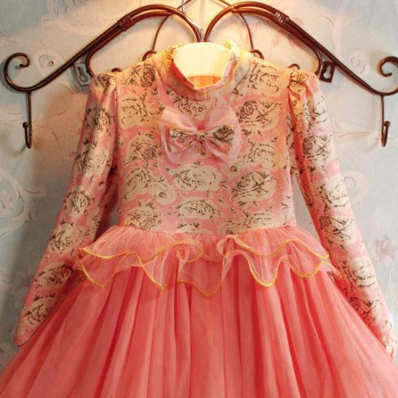 Peach Dress for Girls Pink Pink Long Sleeve Tutu Dresses for Toddler Girls Formal Wear