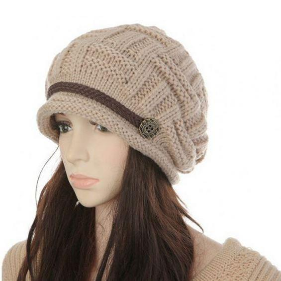 Beige Knitted Hats for Women Handmade Wool Knitted Beige Beanies