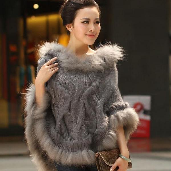 Gray Knitted Shawl Poncho Gray Poncho Shawl Scarf for Women