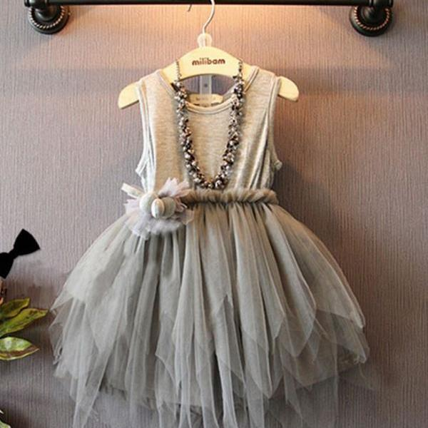 2T Gray Tutu Dress Casual 2T Girls Tutu Cotton Dress