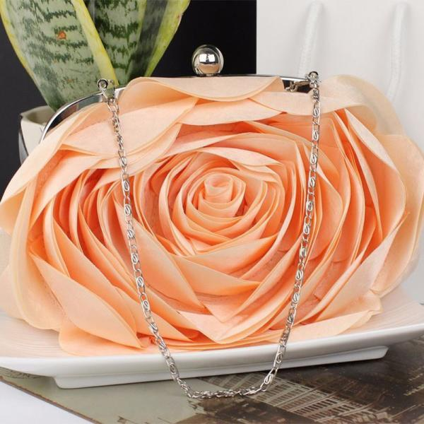 Peach Purse for Women Peach Handbags Bridesmaids Evening Purse Bridal Floral Accessory
