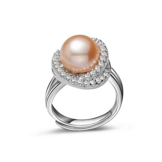 Peach Pearls Ring Genuine Pearl Rings