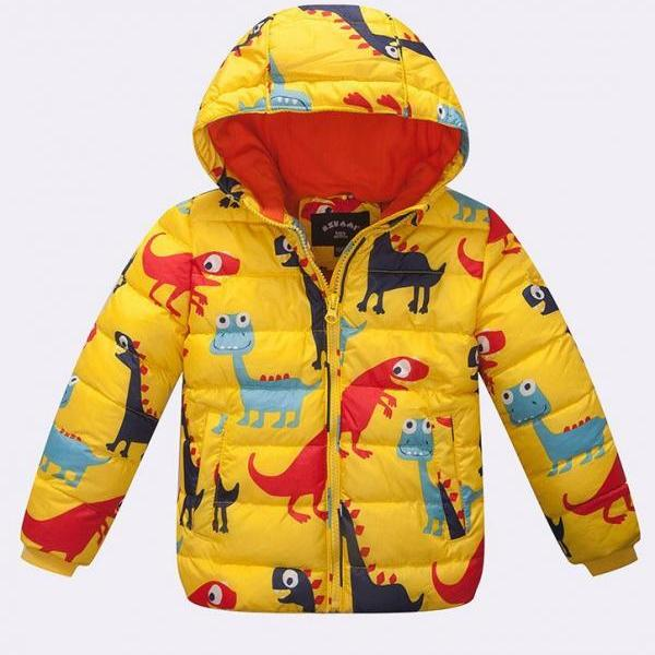 Boys Yellow Parka Jacket with Printed Dino Dinosaurs Animal with Hood