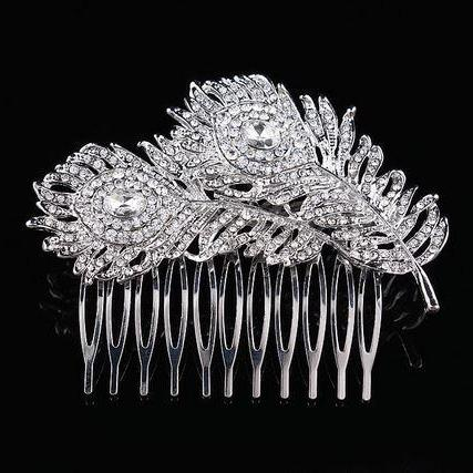 Silver Hair Combs Peacock Hair Comb Wedding Comb Rhinestone Crystal Hair Combs